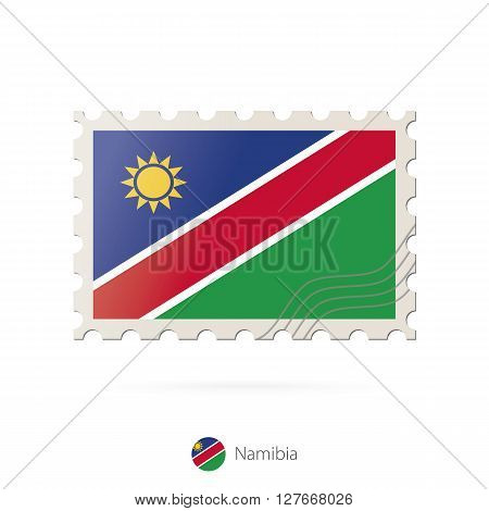 Postage Stamp With The Image Of Namibia Flag.