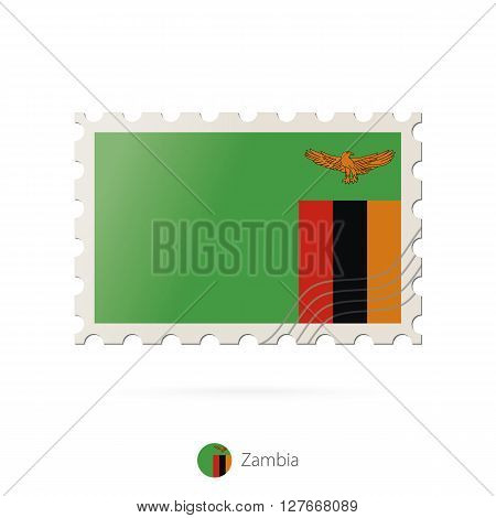 Postage Stamp With The Image Of Zambia Flag.