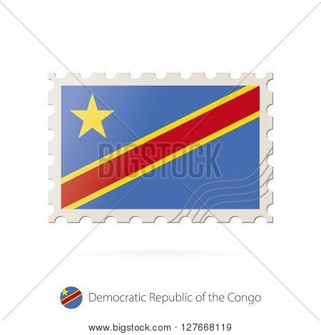 Postage Stamp With The Image Of Dr Congo Flag.