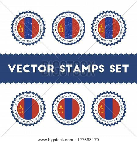 I Love Mongolia Vector Stamps Set. Retro Patriotic Country Flag Badges. National Flags Vintage Round