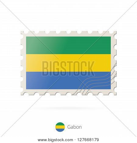 Postage Stamp With The Image Of Gabon Flag.