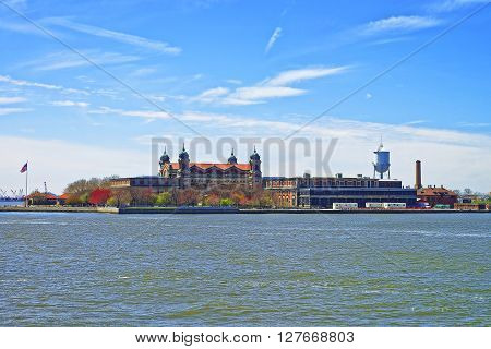 Ellis Island USA in Upper New York Bay. It was a gateway for immigrants who came to immigrant inspection.
