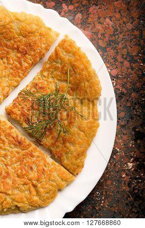 Traditional Irish potato pancakes are on a plate