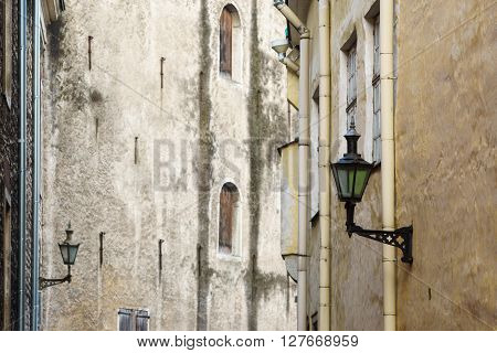 Facade of 17th century storehouse in Old town of Tallinn Estonia