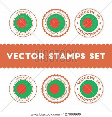 Bangladeshi Flag Rubber Stamps Set. National Flags Grunge Stamps. Country Round Badges Collection.