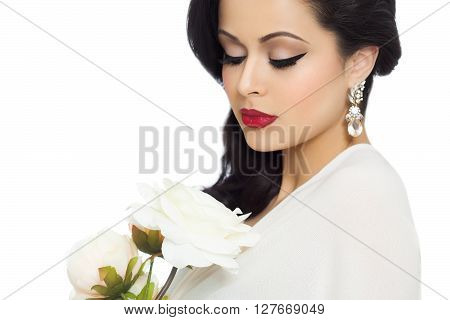 Beautiful Bride With White Peonies