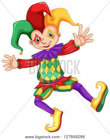 Jester in colorful costume illustration
