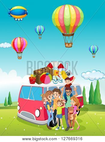 Family trip and balloons flying illustration