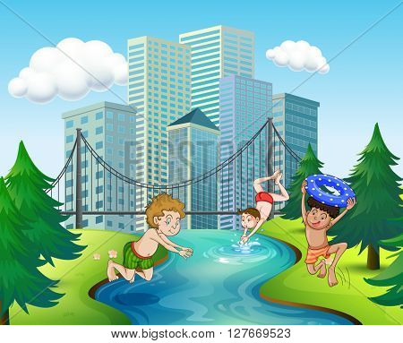 Three boys diving in the river illustration
