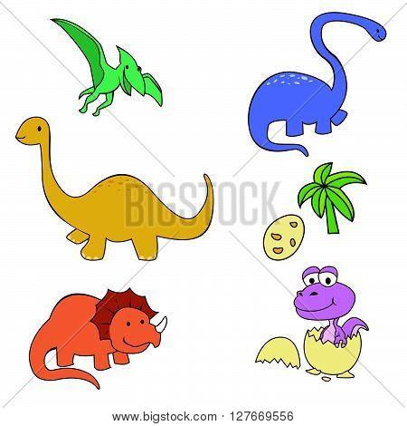 Dinosaur Cute Object Collection.eps10 editable vector illustration design
