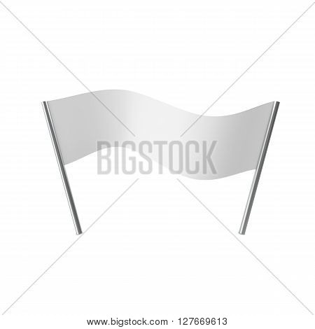 Stretched, tensioned white blank cloth banner isolated on white background. 3D illustration