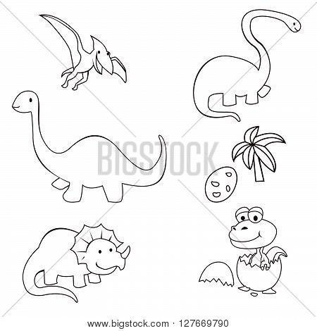 Dinosaur Cute Object Collection Hand Drawn Sketch Doodle.eps10 editable vector illustration design