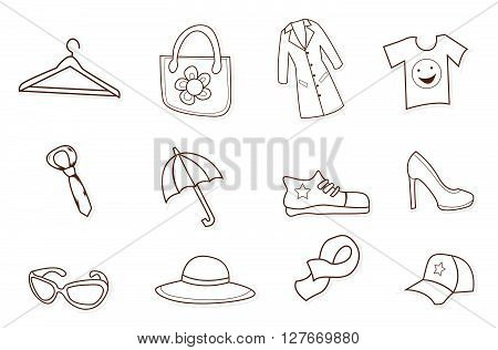 Fashion Shopping Hand Drawn Sketch Doodle.eps10 editable vector illustration design