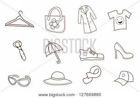Fashion Shopping Hand Drawn Sketch Doodle.eps10 editable vector illustration design