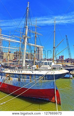 Ship In Harbor Of South Street Seaport In Lower Manhattan