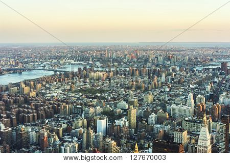 Aerial View Of Skyscrapers In Manhattan And Brooklyn