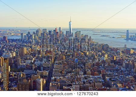 Aerial View Of Downtown And Lower Manhattan