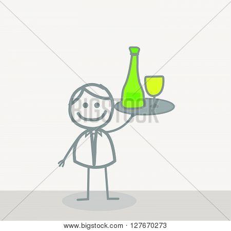 Funny Doodle : Waiter.eps10 editable vector illustration design