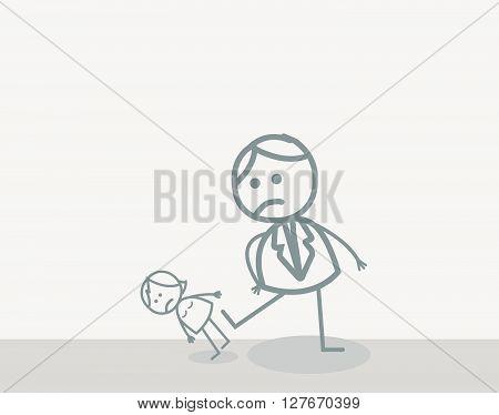 Doodle : Woman Violence.eps10 editable vector illustration design