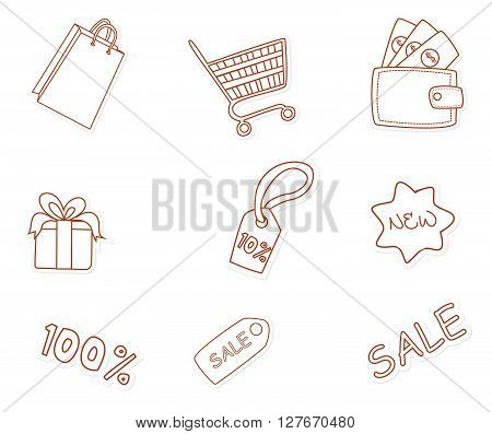 Fashion Shopping Object Hand Drawn Sketch Doodle.eps10 editable vector illustration design
