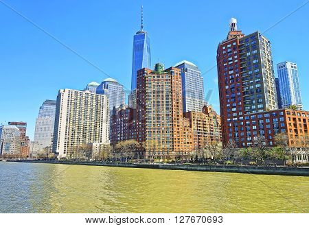 View from Ferry on Battery Park City in New York Harbor Lower Manhattan USA. Hudson River.