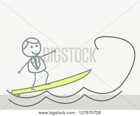 Doodle : Businessman Surfer.eps10 editable vector illustration design