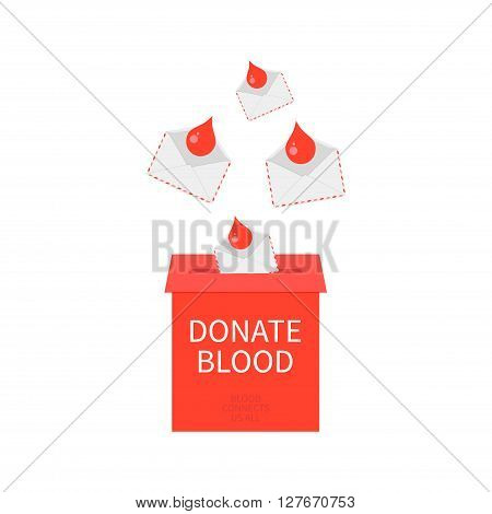 World Blood Donor Day poster with a donate blood postbox and blood drops in envelopes. Blood connects us all quote. Blood donation medical label. Blood donor icon. Donate blood save life concept. Vector illustration.