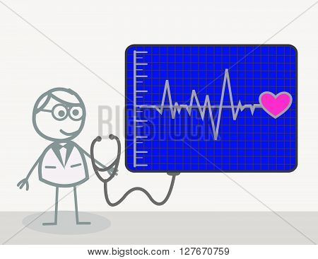 Cardiac Doctor .eps10 editable vector illustration design
