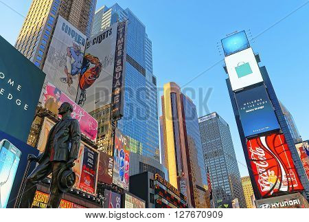Statue Of George M Cohan On Times Square