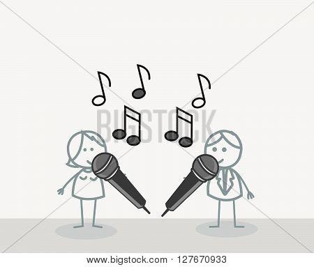 Duet Singer .eps10 editable vector illustration design