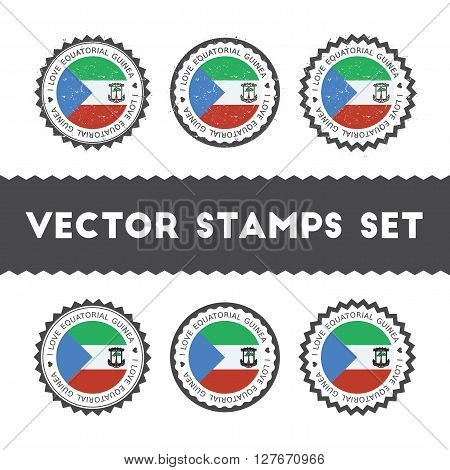 I Love Equatorial Guinea Vector Stamps Set. Retro Patriotic Country Flag Badges. National Flags Vint
