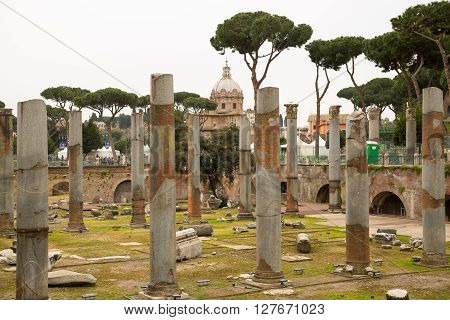 ROME, ITALY - APRIL 8, 2016: Emperor Trajan Forum 106-112 AD, measuring 300 metres (980 feet) long and 185 metres (607 feet) wide