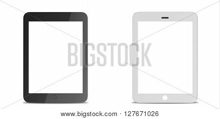 Set tablet computer, electronic device isolated on white background. 3D illustration