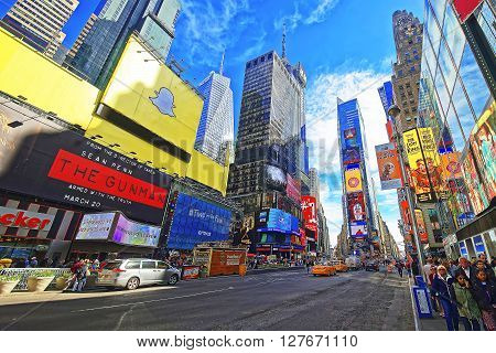 Streets Of Broadway And 7Th Avenue In Times Square