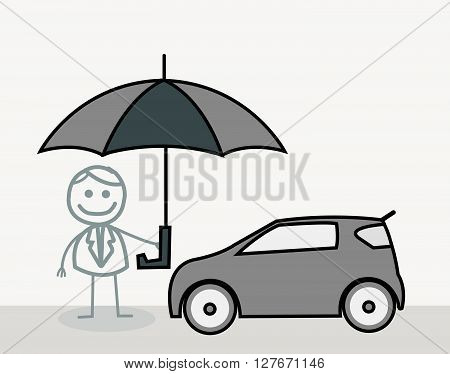 Man Car Insurance Doodle.eps10 editable vector illustration design