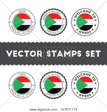 Sudanese Flag Rubber Stamps Set. National Flags Grunge Stamps. Country Round Badges Collection.