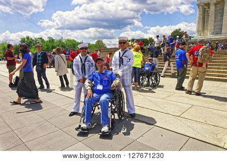 War Veterans Next To Lincoln Memorial In Washington Dc