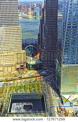 Aerial View On National September 11 Memorial Of Financial District