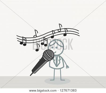Singer Man .eps10 editable vector illustration design
