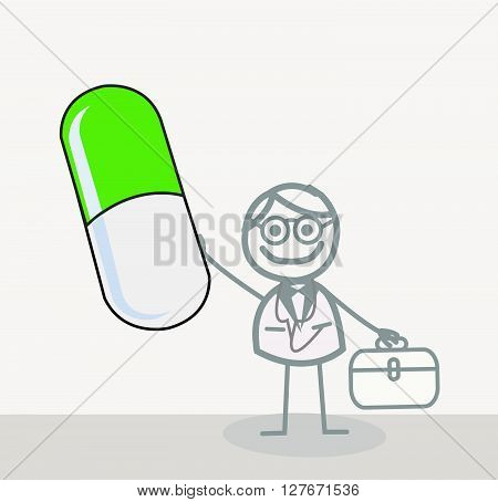 Doctor Green Capsule.eps10 editable vector illustration design