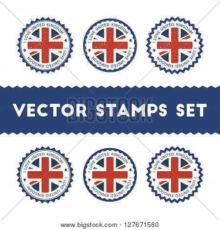 I Love United Kingdom Vector Stamps Set. Retro Patriotic Country Flag Badges. National Flags Vintage