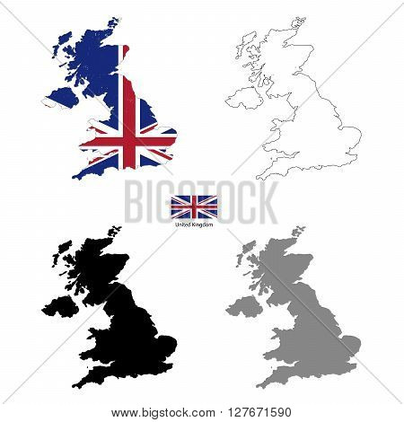 United Kingdom country black silhouette and with flag on background isolated on white