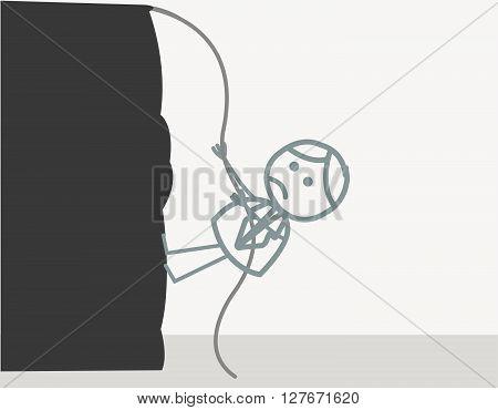 Man climbing mountain.eps10 editable vector illustration design