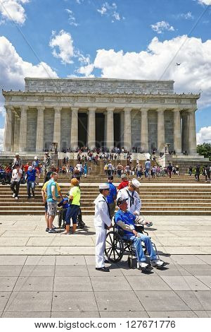 War Veterans Near Lincoln Memorial In Washington Dc