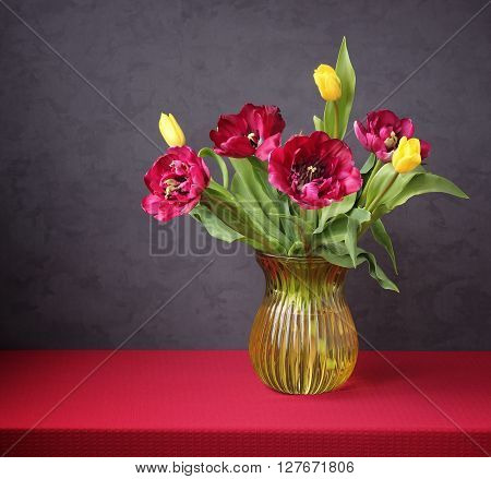 Still life with a bouquet of yellow and Burgundy tulips in a glass yellow vase on the table with a red tablecloth against a dark background. A bouquet for congratulations.