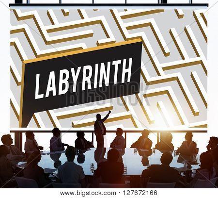Labyrinth Challenge Complexity Business Decision Concept