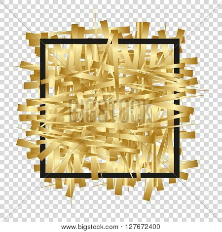 Golden randomly scattered stripes with black frame. Background for banner greetings invitations cards VIP exclusive certificate gift privilege voucher. Place for your text or message. Vector