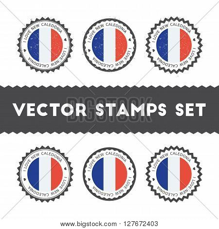 I Love New Caledonia Vector Stamps Set. Retro Patriotic Country Flag Badges. National Flags Vintage