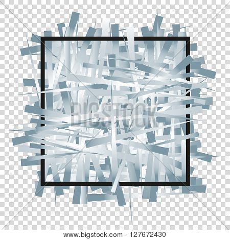 Silver randomly scattered stripes with black frame. Background for banner greetings invitations cards VIP exclusive certificate gift privilege voucher. Place for your text or message. Vector