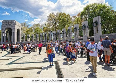 War Veterans In National World War Two Memorial Pacific Arch